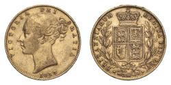 World Coins - Great Britain Victoria 1858 Gold Sovereign Shield - Wide date About very fine