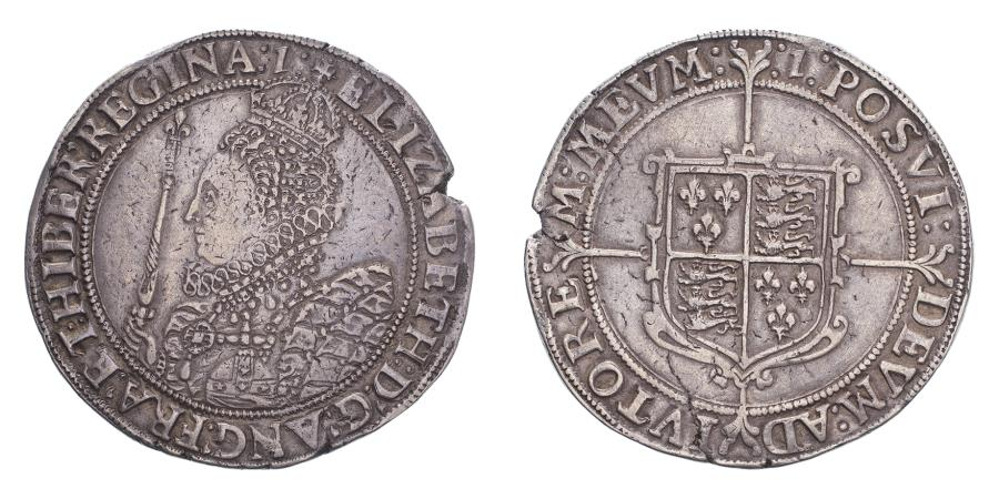 World Coins - Great Britain Elizabeth I 7th coinage (1601-2) Crown Flan cracked to right, otherwise very fine with great sharpness and a lovely portrait.