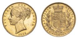 World Coins - Great Britain Victoria 1866 Gold Sovereign Shield - die number 54 About extremely fine