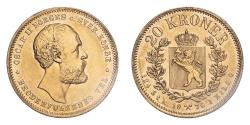 World Coins - Norway Oscar II 1876 Gold 20 Kroner GVF, cleaned