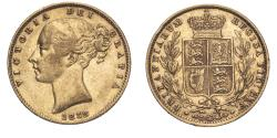 World Coins - Great Britain Victoria 1858 Gold Sovereign Shield - Narrow date About very fine