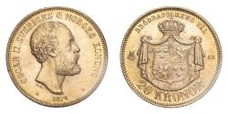 World Coins - Sweden Oscar II 1874 ST Gold 20 Kronor About uncirculated