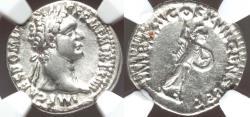 Ancient Coins - Domitian (AD 81-96). AR denarius. NGC XF.