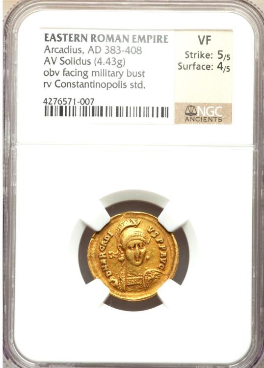 AD383-408 VF Roman AE3 of Arcadius NGC