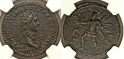 Ancient Coins - Domitian, as Augustus (AD 81-96). AE dupondius NGC XF From the Morris Collection