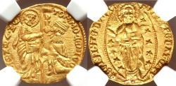 Ancient Coins - Tomaso Mocenigo (1414-1423) Venice gold Ducat ND UNC Details (Edge Filing) NGC,