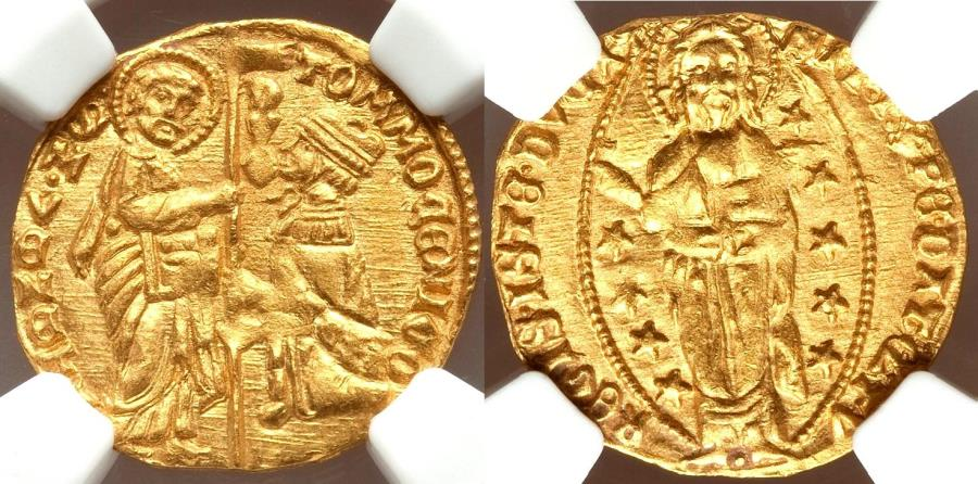 World Coins - Tomaso Mocenigo (1414-1423) Venice gold Ducat ND UNC Details (Edge Filing) NGC,
