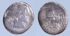 Ancient Coins - L. Rubrius Dossenus Denarius - AR Denarius (Rome 87 BC)