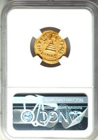 Ancient Coins - Heraclius (AD 610-641), with Heraclius Constantine and Heraclonas. AV solidus (20mm, 7h). NGC AU.