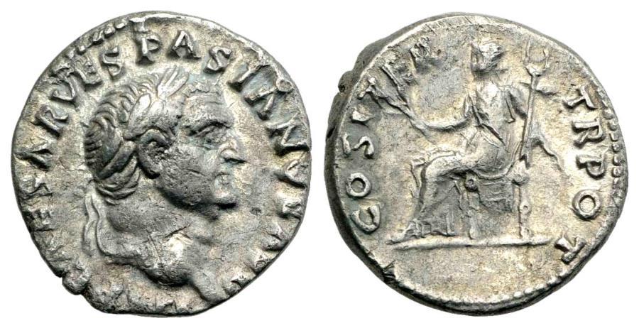Ancient Coins - Vespasian (69-79) AR Denarius Rome AD 70.