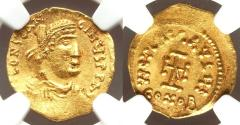 Ancient Coins - Constantine IV Pogonatus (AD 668-685). AV tremissis (15mm, 7h). NGC Choice AU, wavy fan.