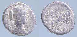 Ancient Coins - T. Carisius AR Denarius. Rome, 46 BC