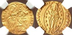 Ancient Coins - Andrea Contarini (1368-1382) Venice.  gold Ducat ND AU53 NGC