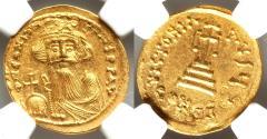Ancient Coins - Constans II Pogonatus (AD 641-668). AV solidus (20mm, 4.45 gm, 7h). NGC MS 3/5 - 4/5, die shift.
