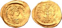Ancient Coins - Justinian I AV Tremissis. Constantinople, AD 527-565