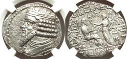 Ancient Coins - Kings of Parthia Gotarzes II BI Tetradrachm NGC