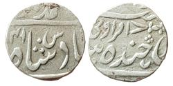 World Coins - INDIA, Hyderabad: Sikandar Jah, (1803-1829 AD), AR Rupee, In The Name Of Muhammad Akbar II, Farkhanda Bunyad Mint With Mint-Name  'Amravati',