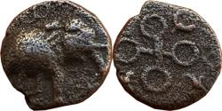 Ancient Coins - INDIA, UJJAIN: ELEPHANT TYPE, AE,TRAURINES AND SWASTIKAS IN BETWEEN EACH ORB