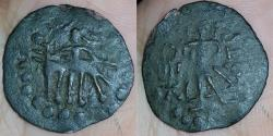 Ancient Coins - INDIA, KUSHAN  IMITATION IN BACTRIA: Bactrian local AE, imitation of Kushan types, 1.75gm, Obv: Elephant and rider left, Rev: standing deity, Moon goddess Mao