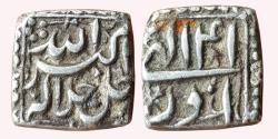 World Coins - INDIA, MUGHAL EMPIRE: Akbar (1556-1605 AD), AR ½ Square Rupee, 5,66gm, mint-less type, 41 Azar, KM 63.1, Very Fine, Very Scarce.