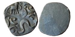Ancient Coins - INDIA, PMC OF ASHMAKA JANPADA: TAPI VALLEY REGION, FOUR PUNCHES, AR, 1,47 G, 17 MM, OBV: ELEPHANT TO RIGHT, A PAIR OF DOTTED CRESCENTS SYMBOL IN CENTRE,