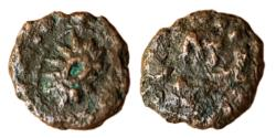 Ancient Coins - INDIA, JISHNUS: WHEEL TYPE, AE, 0,31 G, 6 MM, OBV: WHEEL INSIDE A CIRCLE, DOTTED BORDER AROUND, REV: BRAHMI LEGEND: JISHANA DOTTED BORDER AROUND, RARE AND CHOICE, KOTHARI-RB#361.