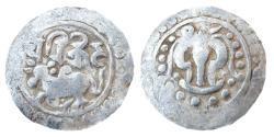 Ancient Coins - CANDRAS OF HARIKELA: AR, (5.5gm, 24mm). OBV: HUMPED BULL SEATED TO LEFT