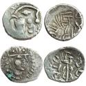 Ancient Coins - MEDIEVAL INDIA, SINDH: Rana Vigraha, (c. Late 8th Century CE), AR Damma(2), Obv: Profile bust of ruler to right. Rev: Trident in the centre; Brahmi legend Sri Rana vigraha around