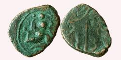 """Ancient Coins - INDIA, MEDIEVAL GUJARAT: UNATTRIBUTED COPPER COIN, FIGURE OF A """"GANDHARVA"""""""
