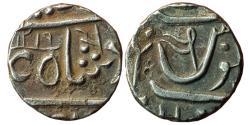 World Coins - MARATHA CONFEDERACY: AR ½ Rupee in the name of Shah Alam II, Gulshanabad (= Nashik), AH 1219, Nagari 'Ra', M&W T6a, 5.16gm, Good VF, Rare with full date.