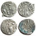 Ancient Coins - MEDIEVAL INDIA, SINDH: Rana Vigraha, (c. Late 8th Century CE), AR Damma(2), Obv: Profile bust of ruler to right. Rev: Trident in the centre; Brahmi legend Sri Rana vigraha around,