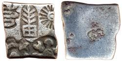 Ancient Coins - POST-MAURYAN:  PUNCH MARKED COIN, DEBASED AR KARSHAPANA