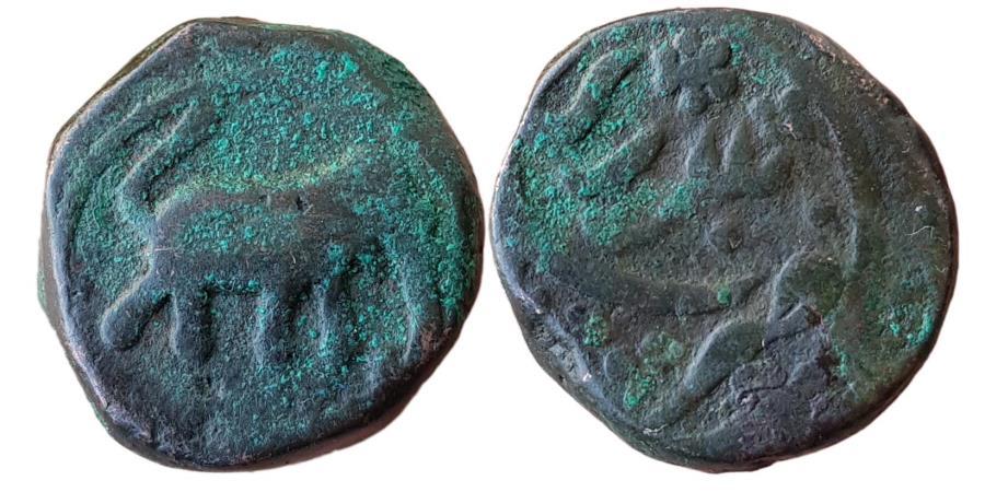 World Coins - INDIA, MYSORE KINGDOM: Haidar Ali (1761-1782 AD), AE Paisa (12,30gm), Balari (=Bellary) Mint. Elephant Advancing Right , , KM 2, Choice, Rare type.