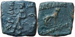 Ancient Coins - India, Indo-Greek: Agathocles, c. 185-170 BCE, AE, 8.47g