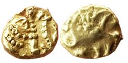 Ancient Coins - INDIA, Hindu coins of Medieval India, Western Gangas (10th-11th century AD), AV Gajapati Fanam, 0.38gm,