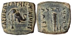 Ancient Coins - INDIA, Indo-Greeks: Menander, Circa 155-130 BC. AE (2.83gm). Head of elephant right, wearing bell around neck / Club of Herakles; monogram to right.