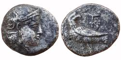 Ancient Coins - BACTRIA,  PRE-SELEUCID: 'EAGLE SERIES', BUST OF ATHENA FACING RIGHT. REV: EAGLE STANDING LEFT,