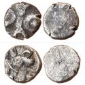Ancient Coins - INDIA, MASAKAS: (SMALL DIE-STRUCK SILVER/BILLON COINS FROM PRE-MAURYA TO SUNGA PERIOD),OBV: TAURINE AROUND BULL,