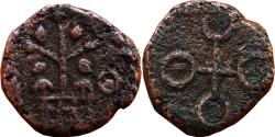 Ancient Coins - INDIA, UJJAIN: TREE TYPE, AE, 0.96 GM, 9 MM, OBV: TREE IN RAILING ON LEFT, UJJAIN SYMBOL ON RIGHT, REV: UJJAIN SYMBOL