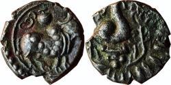 Ancient Coins - INDIA, POST-VAKATAKAS: VISHNUKUNDIN BULL TYPE, COPPER ALLOY,HUMPED BULL  STANDING TO RIGHT BRAHMI LETER SRI WITH PURNA KUMBHA