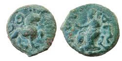 Ancient Coins - INDO-SCYTHIANS: AZES POSTHUMOUS AE, (2.1g, 13mm), OBV: LION RIGHT