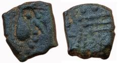 Ancient Coins - INDIA, POST GUPTA: ANEPIGRAPHIC AE, (1.9g, 8mm), GUJARAT REGION, OBV: CRUDELY DEPICTED HUMAN BUST TO RIGHT.