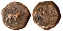 World Coins - INDIA, Hyderabad Feudatories: Elichpur, AE Paisa, 11.27gm, temp. Namdar Khan, Karanja, ND, Obv. Tiger facing right, Rev. Zarb Karanja,