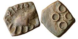 Ancient Coins - INDIA, SATVAHANA EMPIRE:  A COPPER COIN OF DAKSHINA-PATHA-PATI FROM NORTH DECCAN BELONGS TO POST MAURYA/EARLY SATVAHANA PERIOD, ELEPHANT TYPE OF SRI-SATKARNI