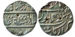 World Coins - INDIA, French India: AR Rupee In The Name Of Muhammad Shah, Arkat (Arcot) Mint,  AH 115x / RY-26,
