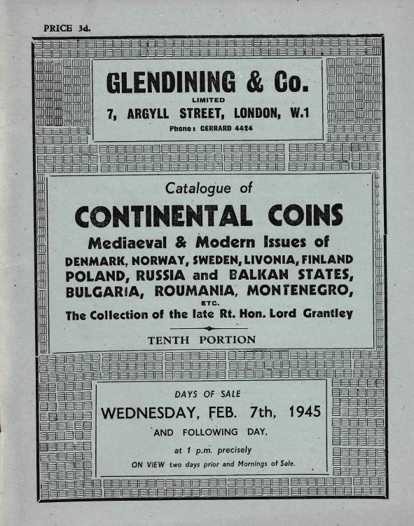 Ancient Coins - Glendining & Co., Catalogue of Continental Coins Medieval & Modern Issues of Denmark, Norway, Sweden, Livonia, Finland, Poland, Russia and Balkan States, Bulgaria, Roumania, Monte