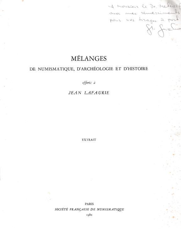 """Ancient Coins - Suchodolski S., Les debuts du monnayage dans les Royaumes Barbares. Reprinted from """"Melanges de Numismatique, d'Archeologie et d'Histoire"""""""
