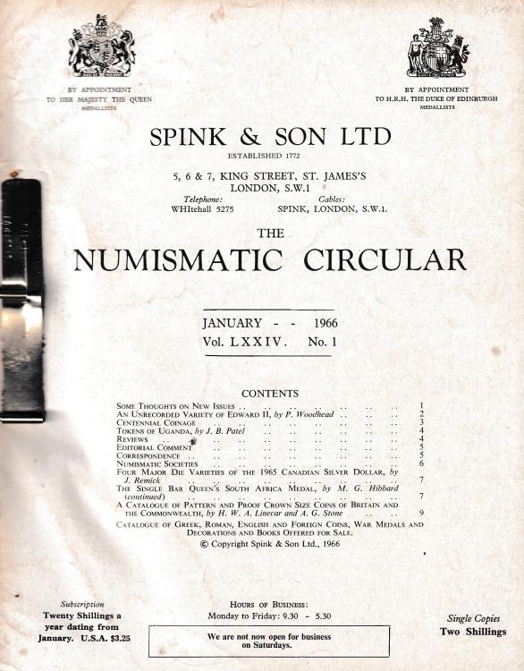 Ancient Coins - Spink & Son Ltd, The Numismatic Circular Vol. LXXIV