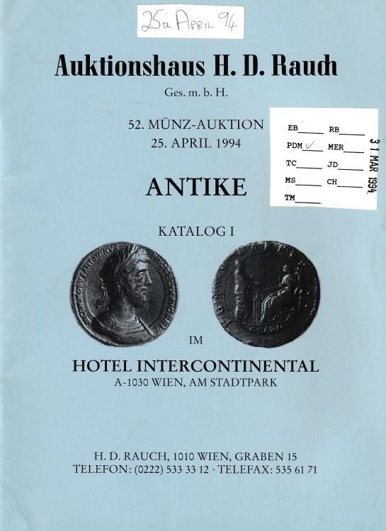 Ancient Coins - Auktionshaus H. D. Raudh, 52. Munz-Auktion Antike Katalog I
