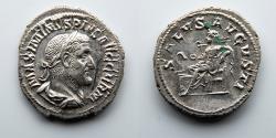 Ancient Coins - ROMAN EMPIRE: Maximinus I, Thrax, AR Denarius, Salus Feeding Snake